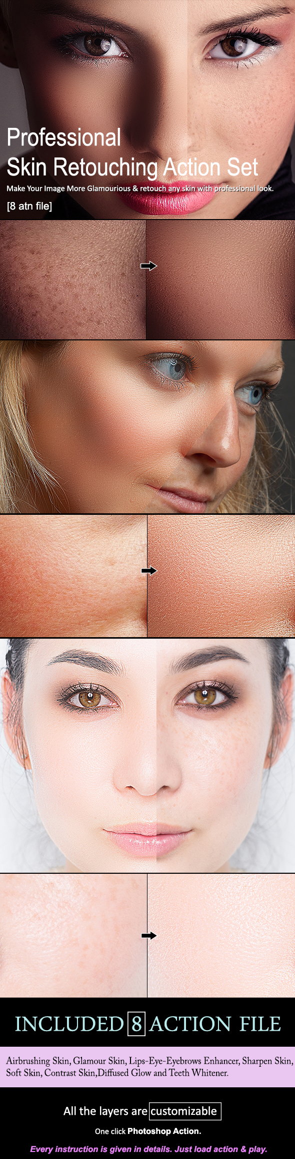 Skin Retouching Action Set [8 Action] - Photo Effects Actions