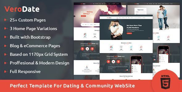 VeroDate – Dating Social Network Website HTML Template