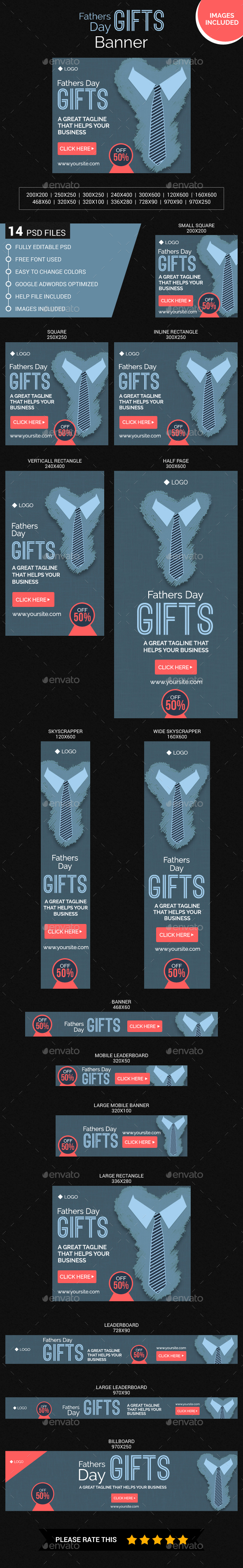 Fathers day Gifts - Banners & Ads Web Elements