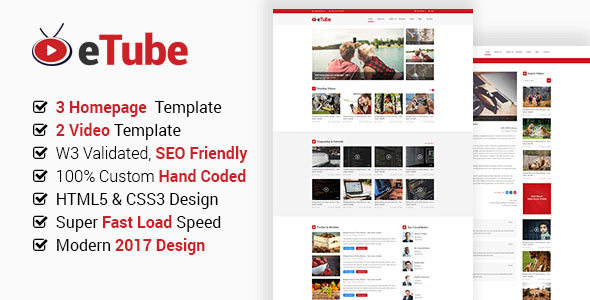eTube – HTML5 Video Blog / Magazine / Entertainment Site Template