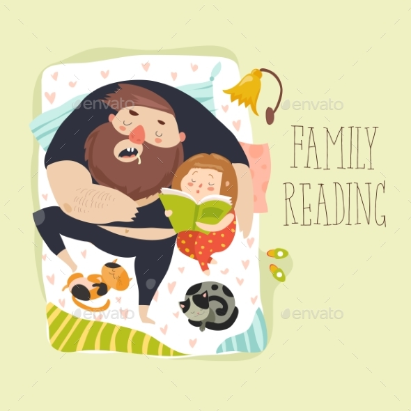 Daughter Reading Bedtime Story to Her Father - People Characters
