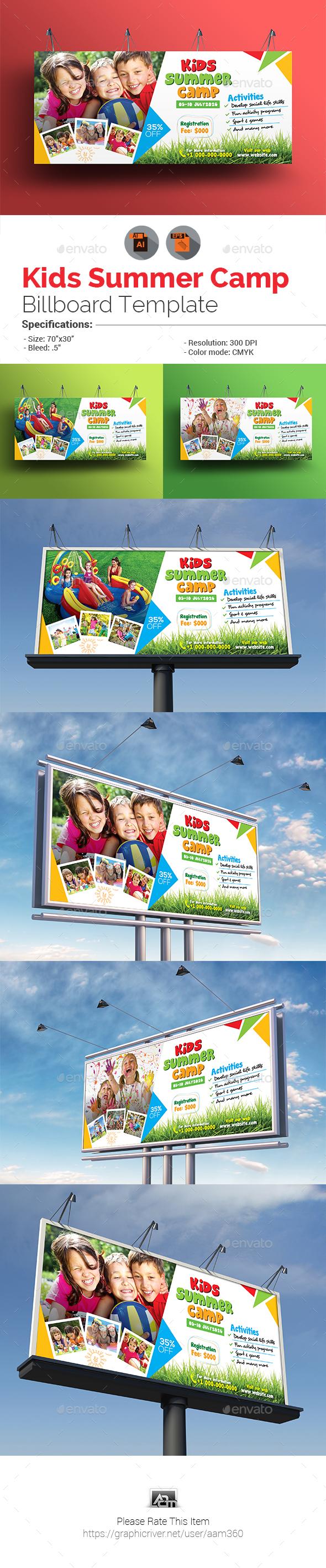 Kids Summer Camp Billboard - Signage Print Templates