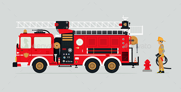 Fire Truck and Firefighters - Services Commercial / Shopping