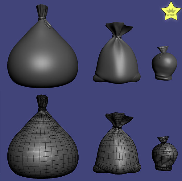 3D models of 3 sacks - 3DOcean Item for Sale
