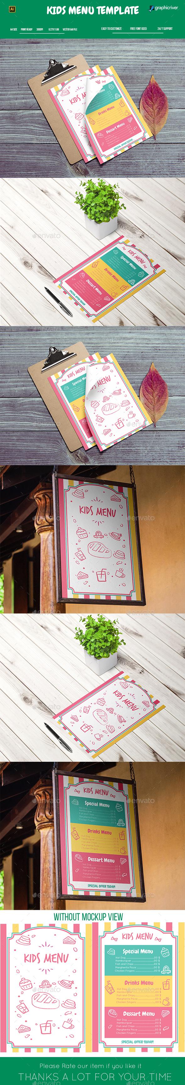 Kids Menu Template - Food Menus Print Templates