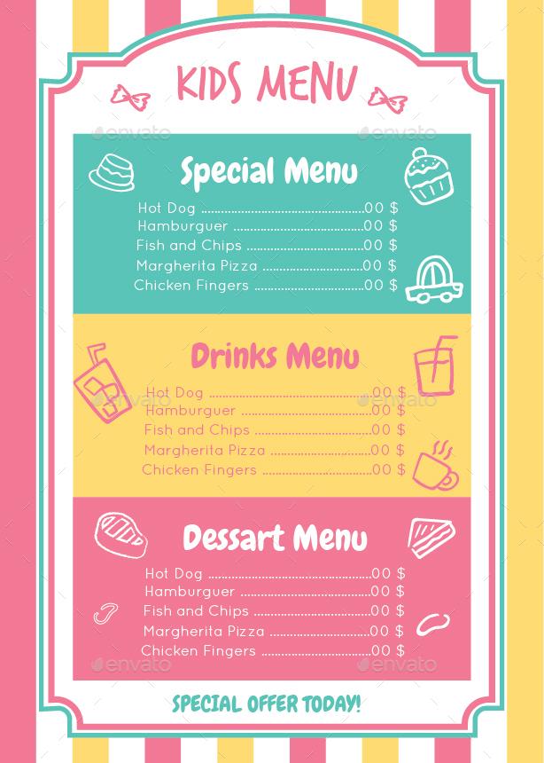 Kids menu template by zakaria1854 graphicriver kids menu template food menus print templates screenshots1g screenshots2g pronofoot35fo Gallery