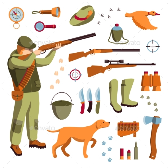Vector Set of Hunting - Animals Characters