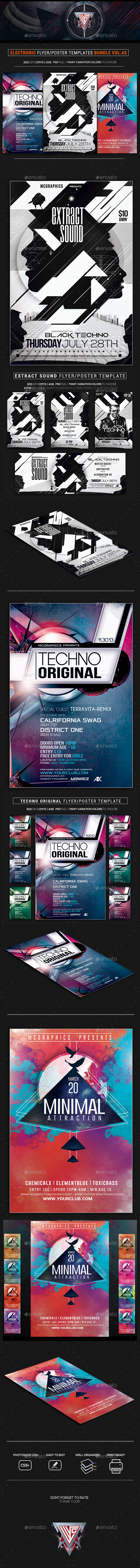 Electro Music Flyer/Poster Bundle Vol. 43 - Flyers Print Templates