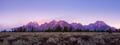 Panoramic view of colorful sunrise at Grand Teton, USA