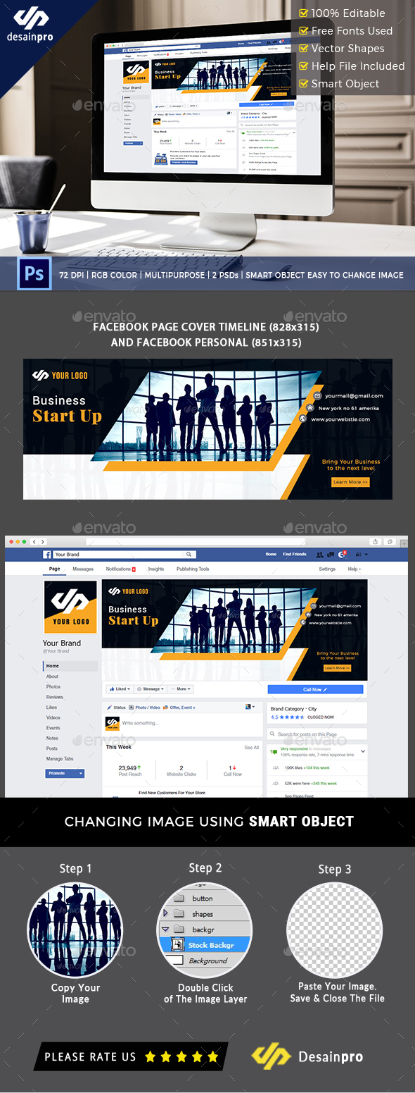 Business Start Up Facebook Cover - Social Media Web Elements