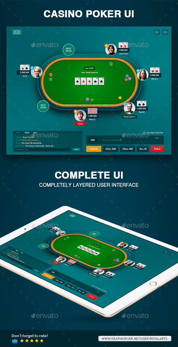 Casino Poker Table Game Ui - User Interfaces Game Assets
