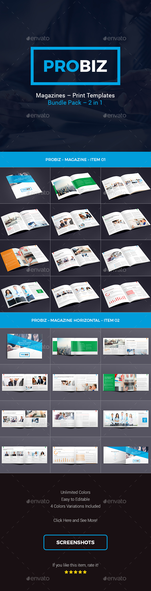 ProBiz – Business and Corporate Magazines Templates Bundle - Magazines Print Templates