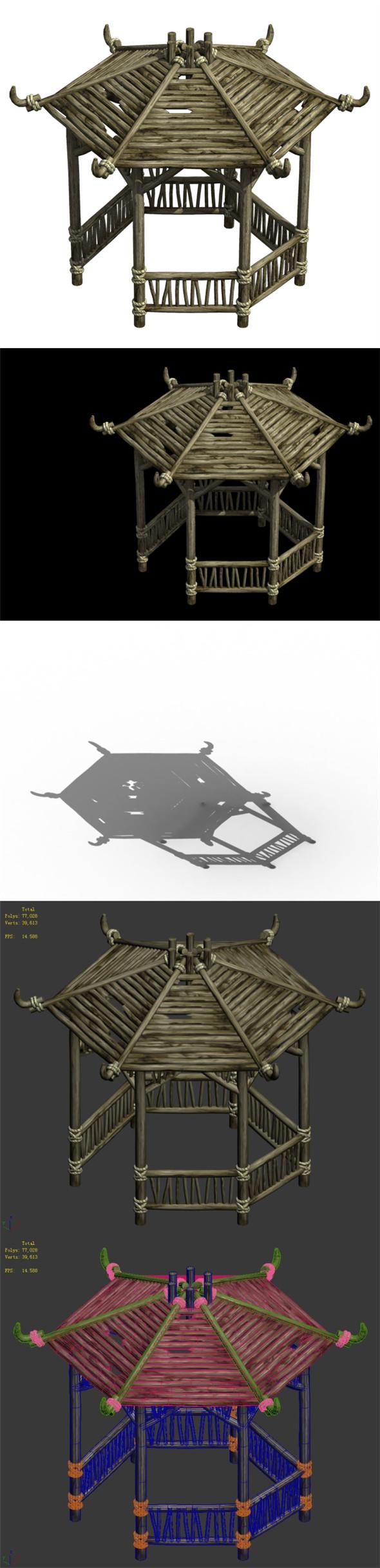 Cangwu Mountain Tribe - Hexagonal Pavilion - 3DOcean Item for Sale