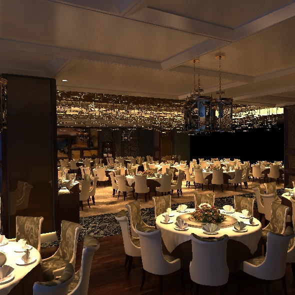 Realistic hotel, Banquet hall,Restaurant interior  3D - 3DOcean Item for Sale