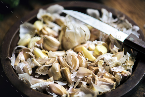 Closeup of fresh garlic cloves - Stock Photo - Images