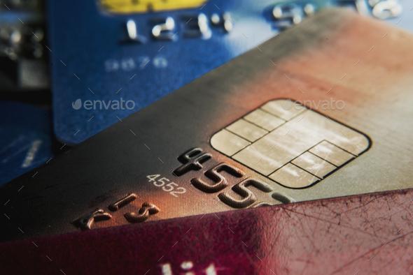 Closeup of credit cards - Stock Photo - Images