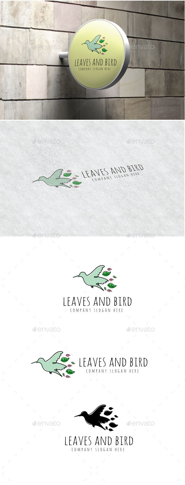 Leaves And Bird Logo - Animals Logo Templates