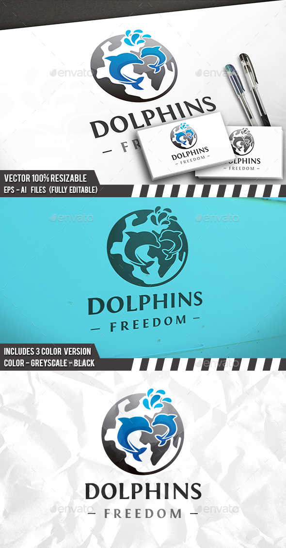 Dolphin World Logo - Animals Logo Templates