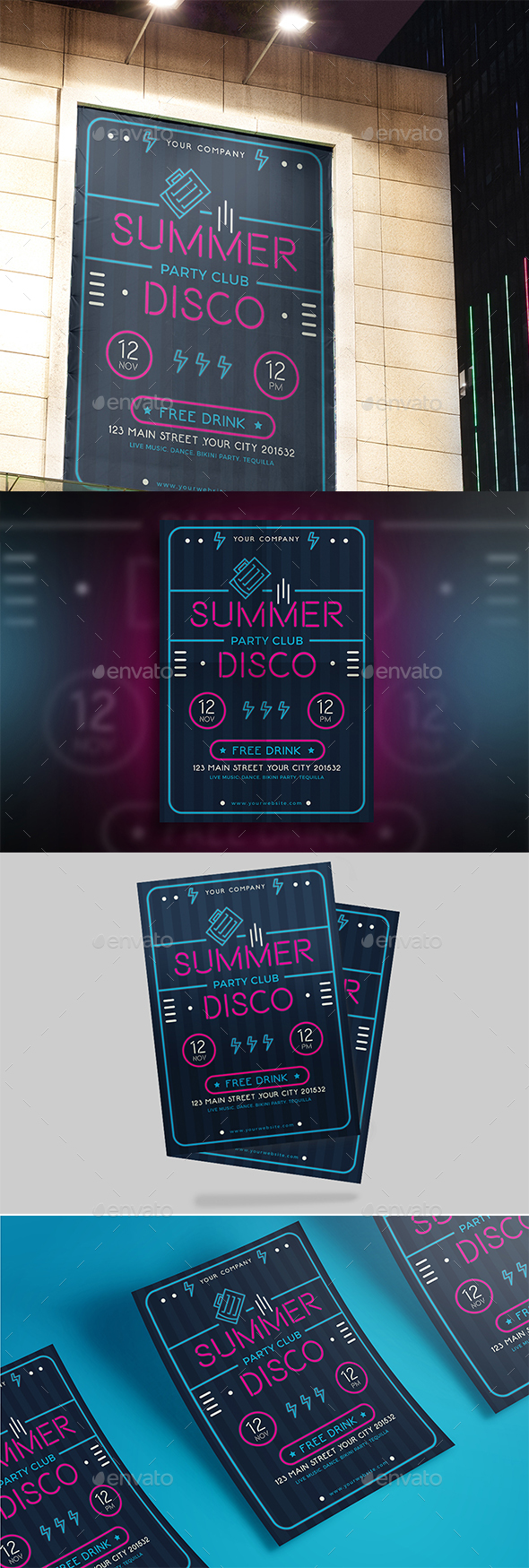 Summer Neon Flyer - Events Flyers