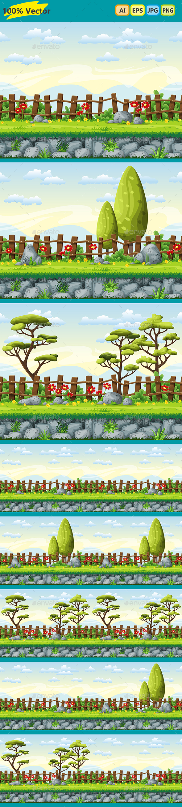 3 Cartoon Game Background Summer Landscapes - Backgrounds Game Assets