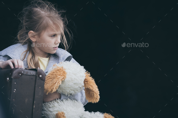 Portrait of sad little girl - Stock Photo - Images