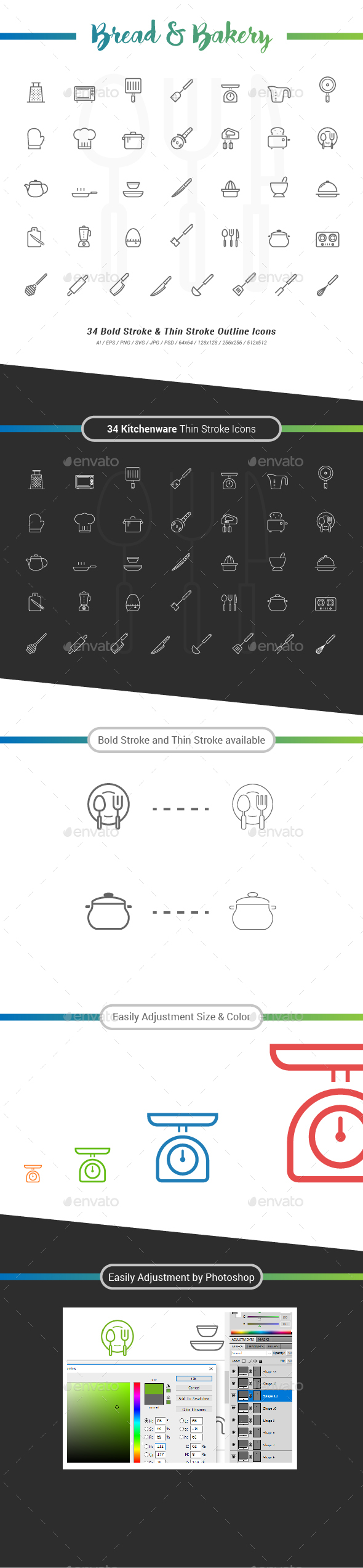 34 Kitchenware Outline Stroke Icon - Objects Icons
