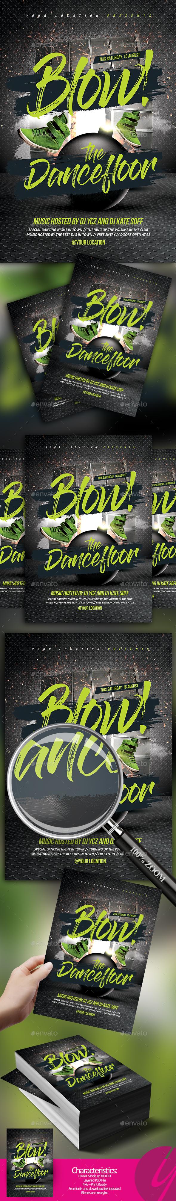 Blow the Dancefloor Flyer - Clubs & Parties Events