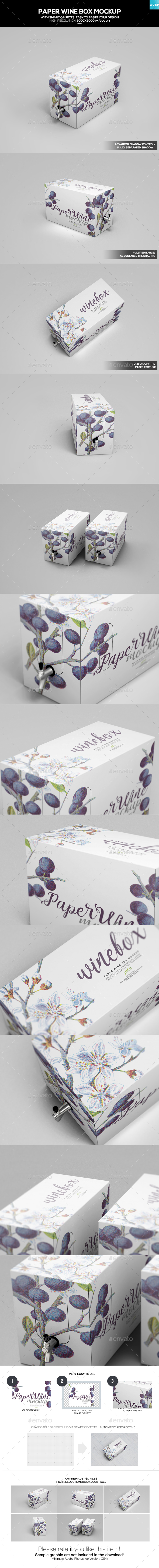 Paper Wine Box Mockup - Food and Drink Packaging