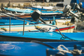 Seagull relaxing on blue boat sundeck in Piran marina