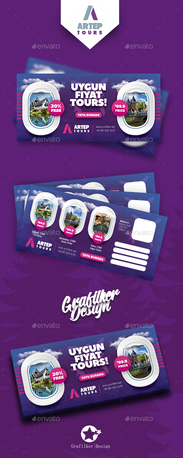 Travel Tour Postcard Templates - Cards & Invites Print Templates