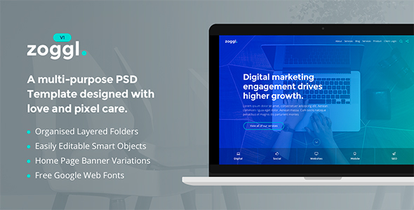 Zoggl – Marketing Website PSD Template
