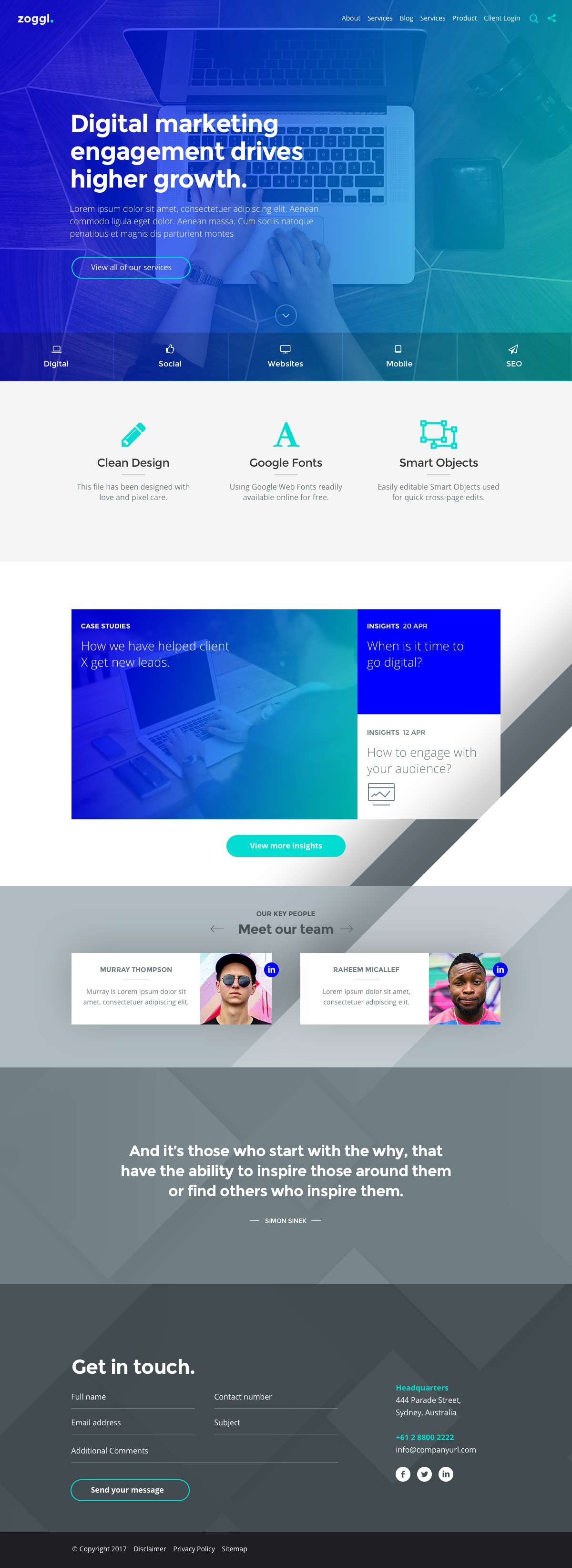 zoggl marketing website psd template by iamabsolut themeforest