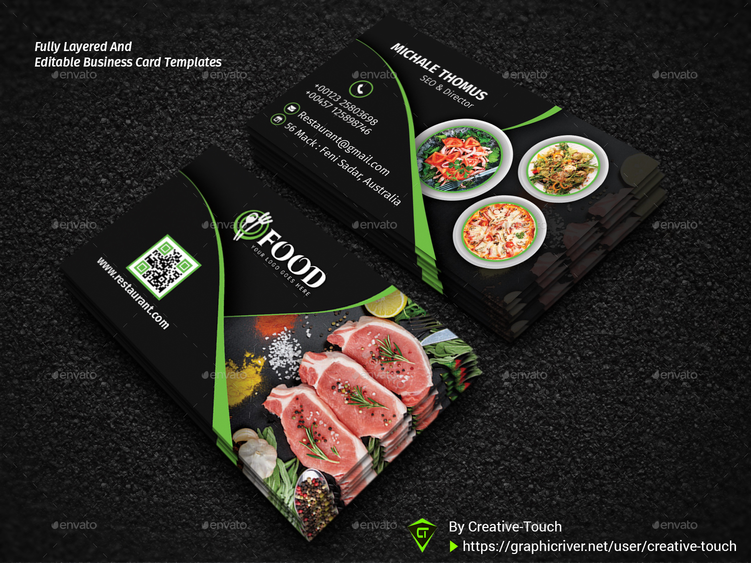 restaurant business cards templates free restaurant business card by creative touch graphicriver restaurant business cards templates free - Restaurant Business Card