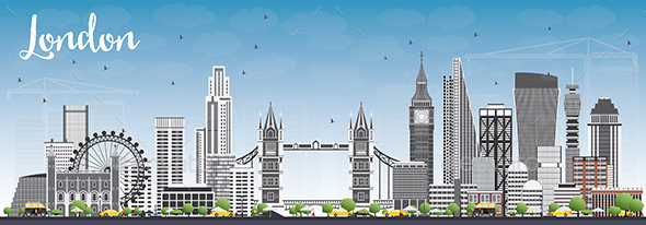 London Skyline with Gray Buildings and Blue Sky. - Buildings Objects