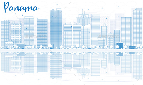Outline Panama Skyline with Blue Buildings and Reflections. - Buildings Objects