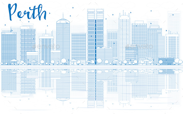 Outline Perth Skyline with Blue Buildings and Reflections. - Buildings Objects