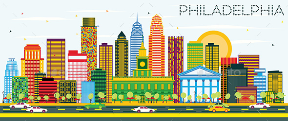 Philadelphia Skyline with Color Buildings and Blue Sky. - Buildings Objects