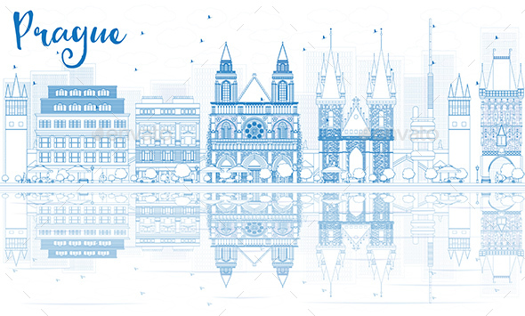 Outline Prague Skyline with Blue Buildings and Reflections. - Buildings Objects