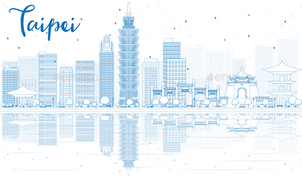 Outline Taipei Skyline with Blue Buildings and Reflections. - Buildings Objects