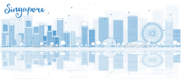 Outline Singapore Skyline with Blue Buildings and Reflections. - Buildings Objects