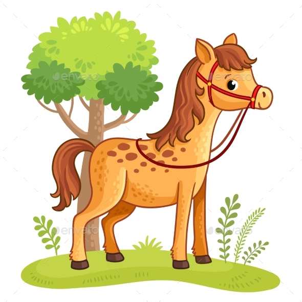 Cartoon Horse Standing in a Meadow. - Animals Characters