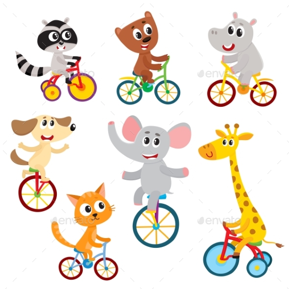 Little Animal Characters Riding Unicycle - Animals Characters