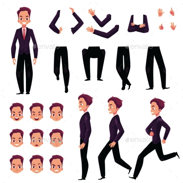 Businessman, Man Character Creation Set - People Characters