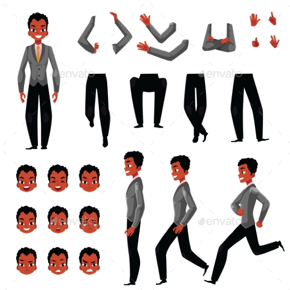 Black, African American Man Character Creation Set - People Characters