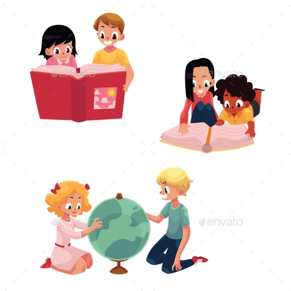 Kids, Children Reading, Studying, Learning - People Characters