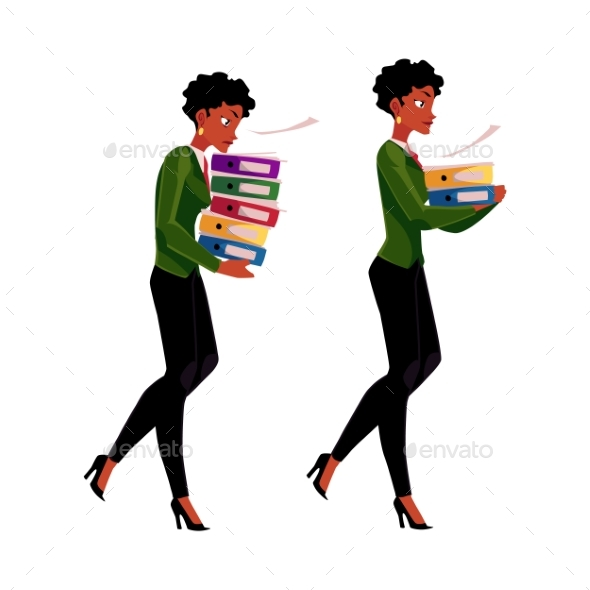 Black, African Businesswoman Carrying Document - People Characters