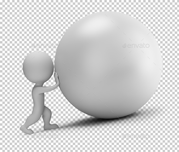 3D Small People - Pushes the Ball - Characters 3D Renders