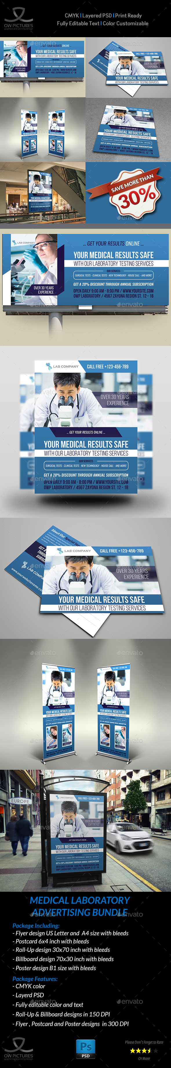 Medical Laboratory Advertising Bundle - Signage Print Templates