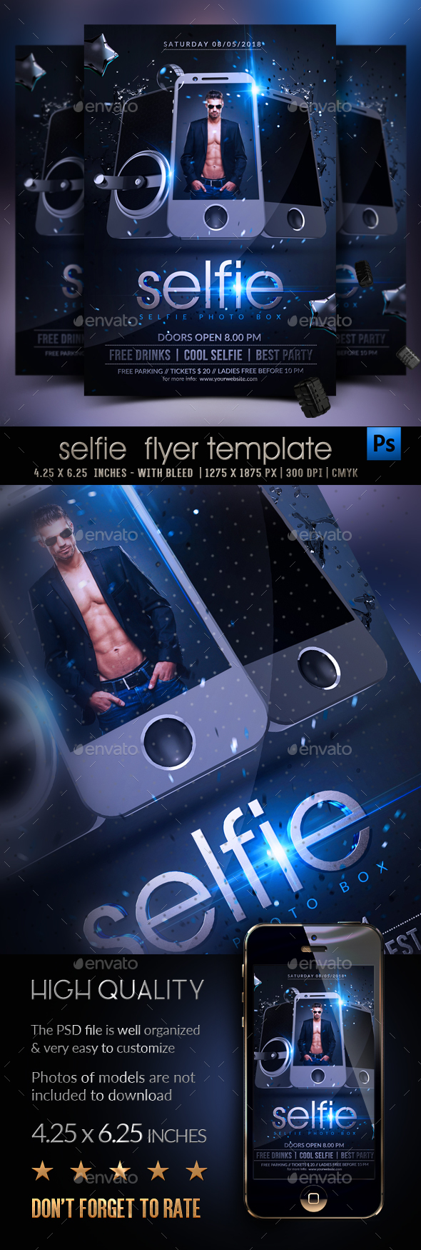 Selfie Party Flyer Template - Clubs & Parties Events