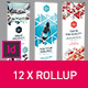 Rollup Stand Banner Display Triangles White 12x Indesign Template - GraphicRiver Item for Sale